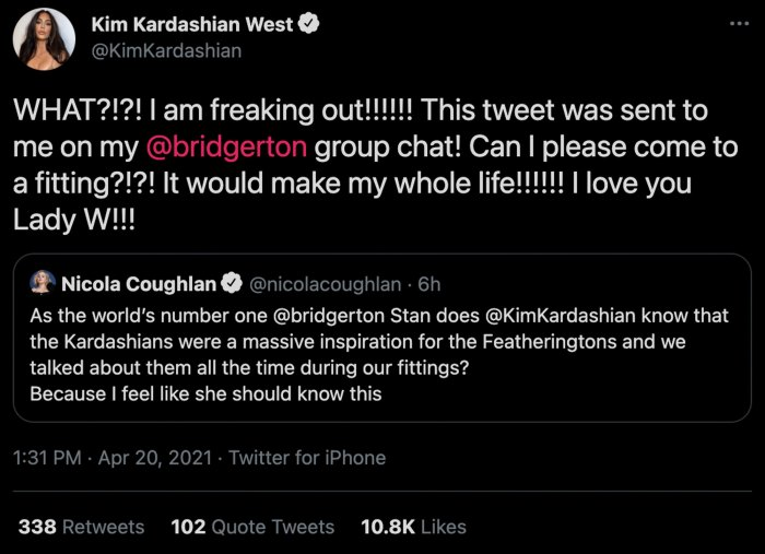 Kim Kardashian Was A Bridgerton Inspiration