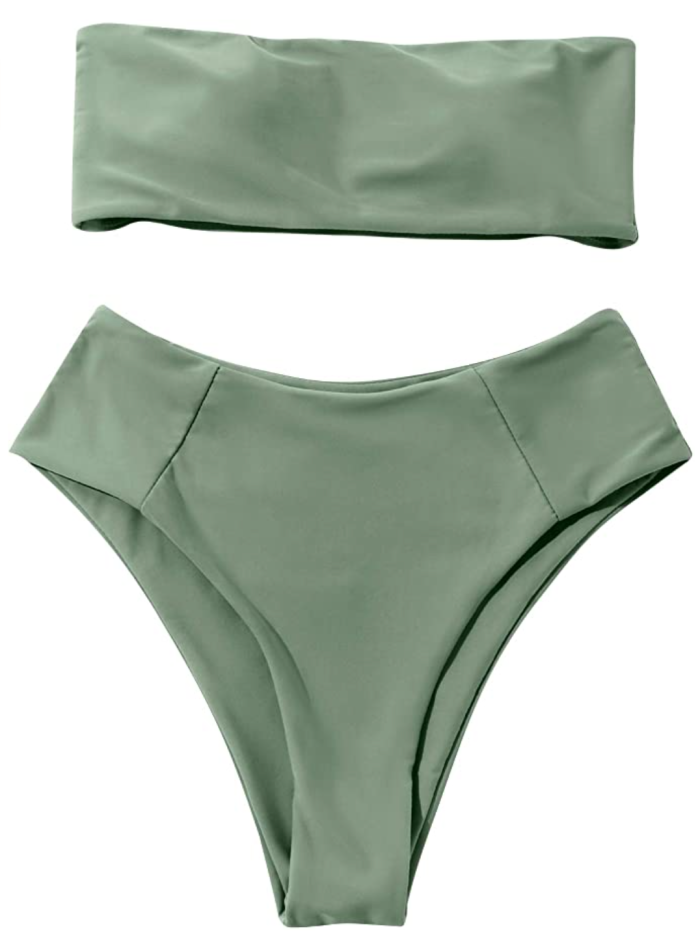 OMKAGI Traje de baño de cintura alta de bikini bandeau de 2 piezas para mujer
