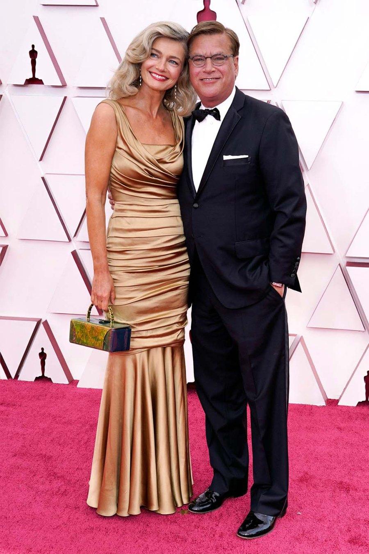 Oscars 2021 Paulina Porizkova Aaron Sorkin Make Red Carpet Debut 2021 Academy Awards