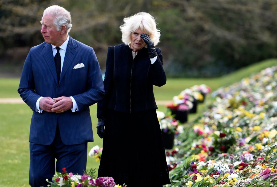 Prince Charles, Camila Pay Their Respects to Philip at Memorial Garden