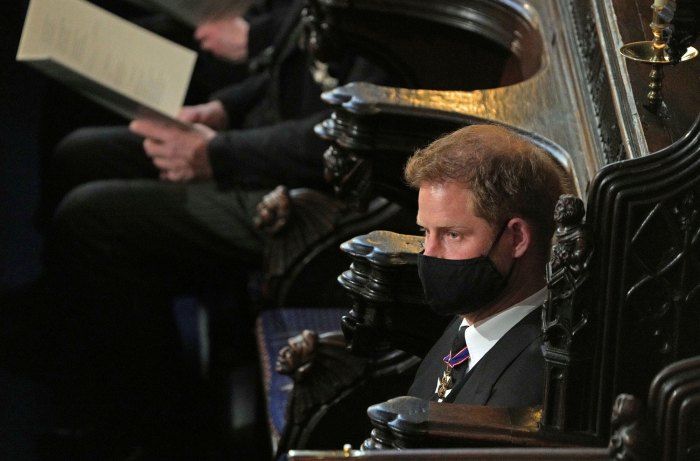 Prince Harry Sits Alone at Prince Philip's Funeral as Prince William Joins Duchess Kate for Service