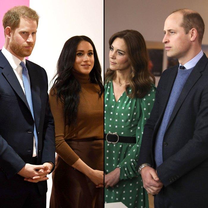 Reunión del príncipe Harry, Meghan Markle, el príncipe William y la duquesa Kate Middleton a lo lejos