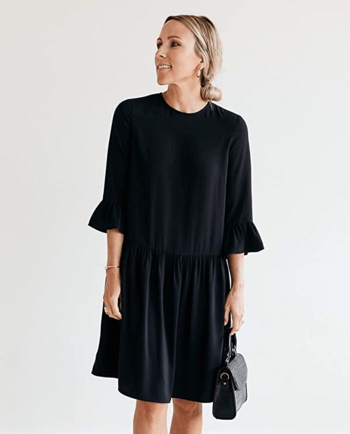 Vestido negro con cintura caída The Drop para mujer de @jaceyduprie