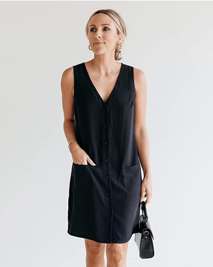 Vestido negro sin mangas con cuello en V para mujer The Drop de @jaceyduprie