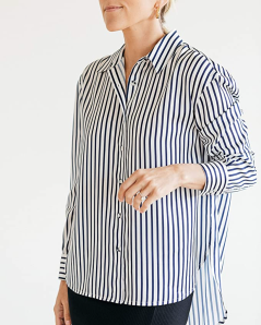 The Drop Women's Navy and White Stripes High-Low Button-Down Shirt by @jaceyduprie