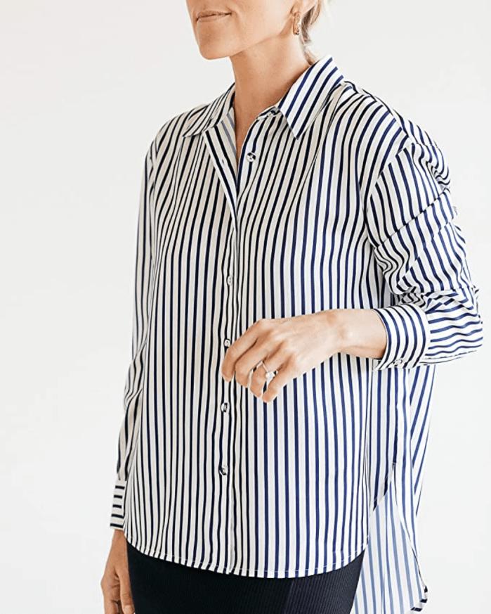 Camisa con botones altos y bajos The Drop para mujer de rayas azul marino y blanco de @jaceyduprie