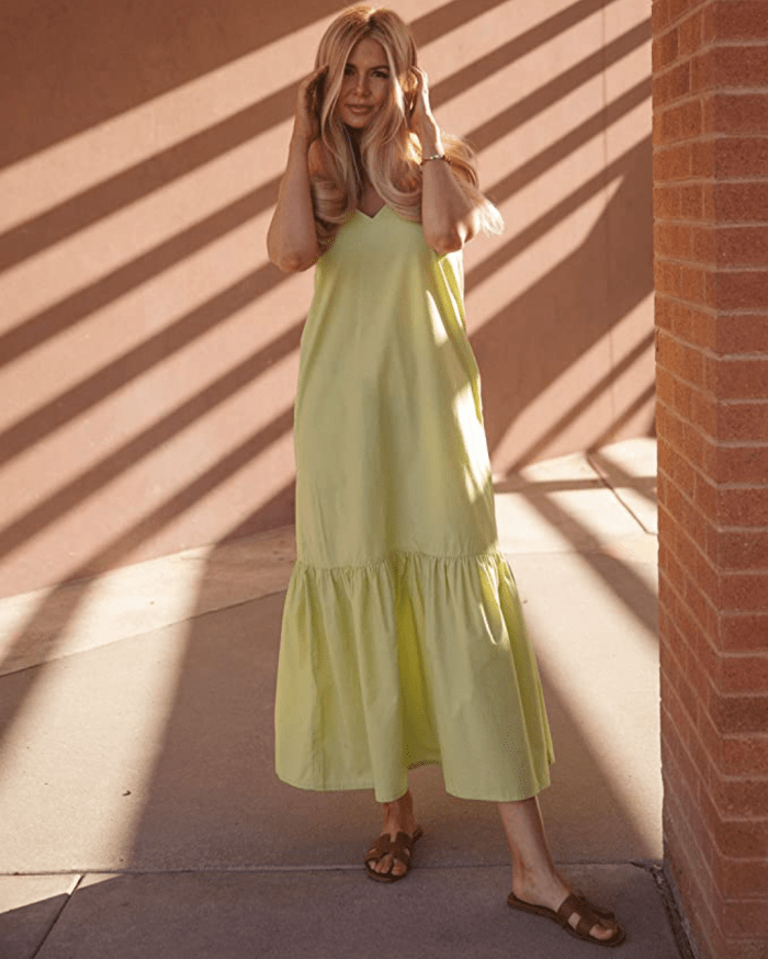 The Drop Women's Pale Green V-Neck Strappy Tiered Maxi Dress by @amberfillerup