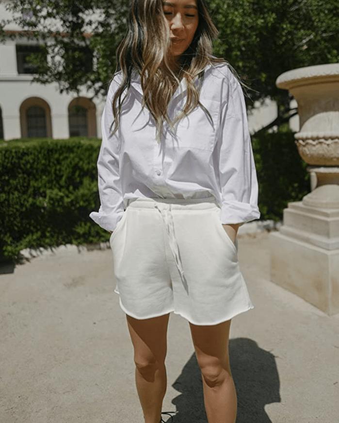The Drop - Shorts blancos con dobladillo sin rematar Whisper para mujer por @spreadfashion