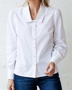 The Drop Women's White Rounded-Collar Button-Down Shirt by @jaceyduprie