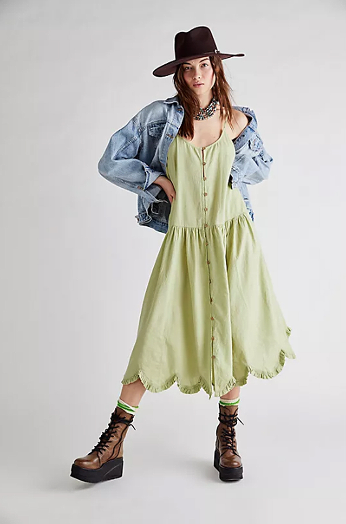 free-people-dress-sale-green-scalloped-hem