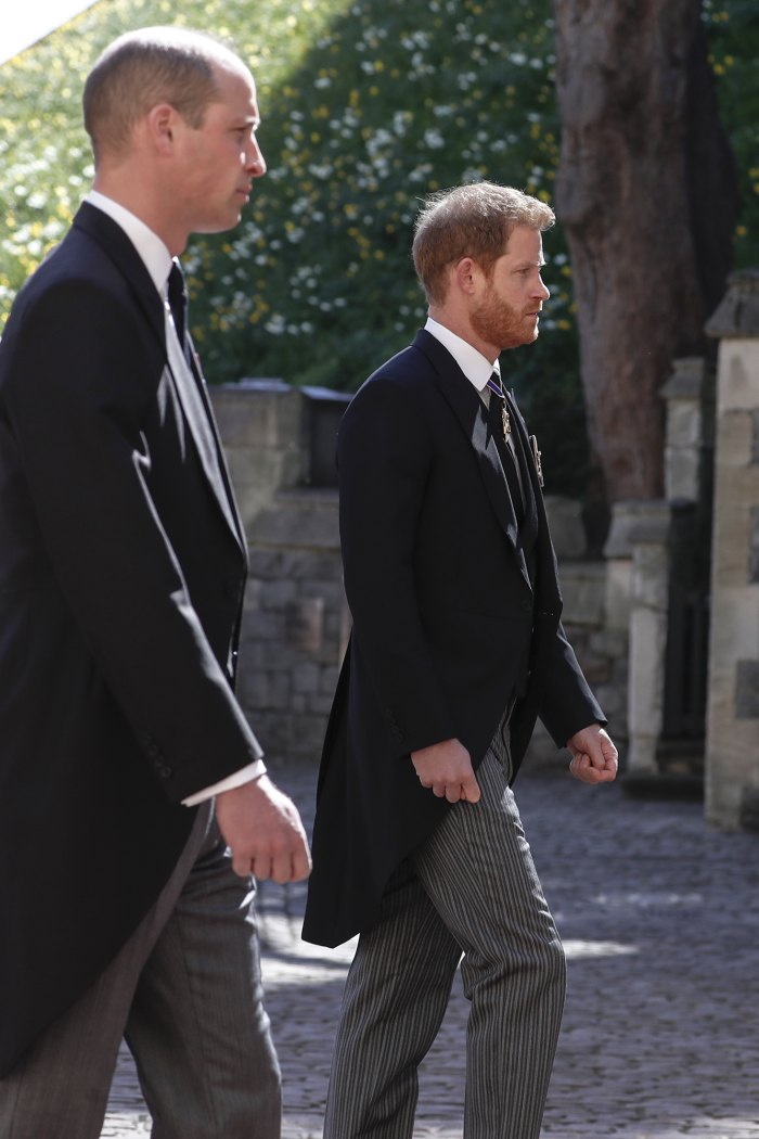 Prince Harry and Prince William Reunite, Walk Behind Prince Philip's Casket at Funeral