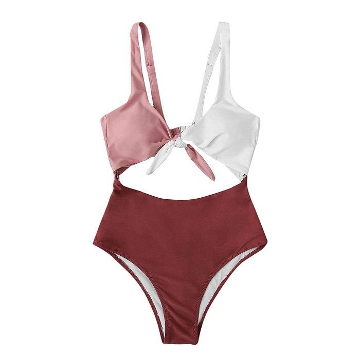 sweatyrocks-color-block-monokini-halagador-traje de baño
