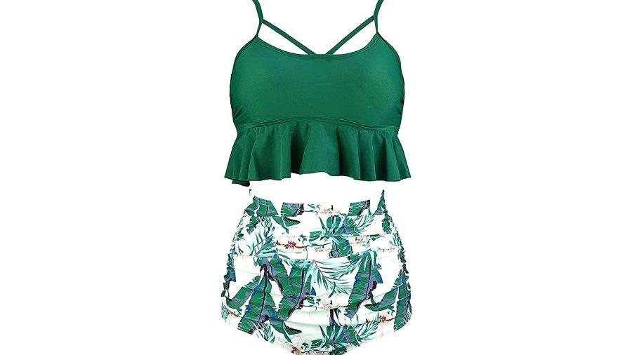 COCOSHIP Women's Retro Boho Flounce Falbala High Waist Bikini Set