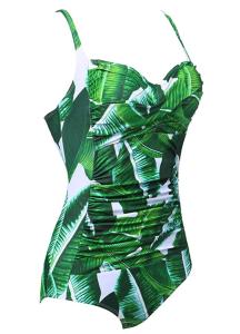 Ekouaer Women's One Piece Vintage Pin up Tummy Control Shirred Bathing Suit