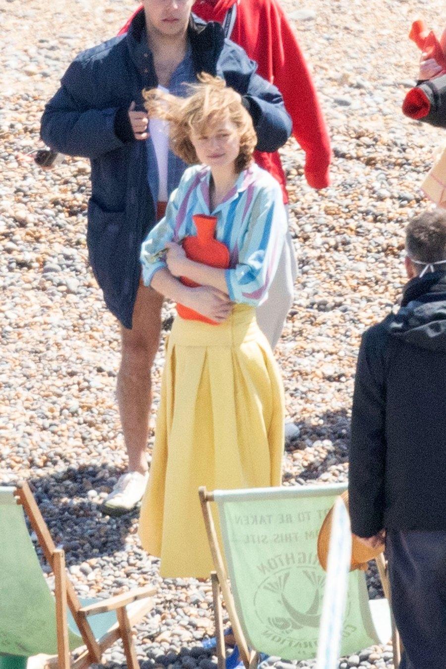 Harry Styles Emma Corrin and David Dawson Skip Down the Beach on My Policeman Set 2
