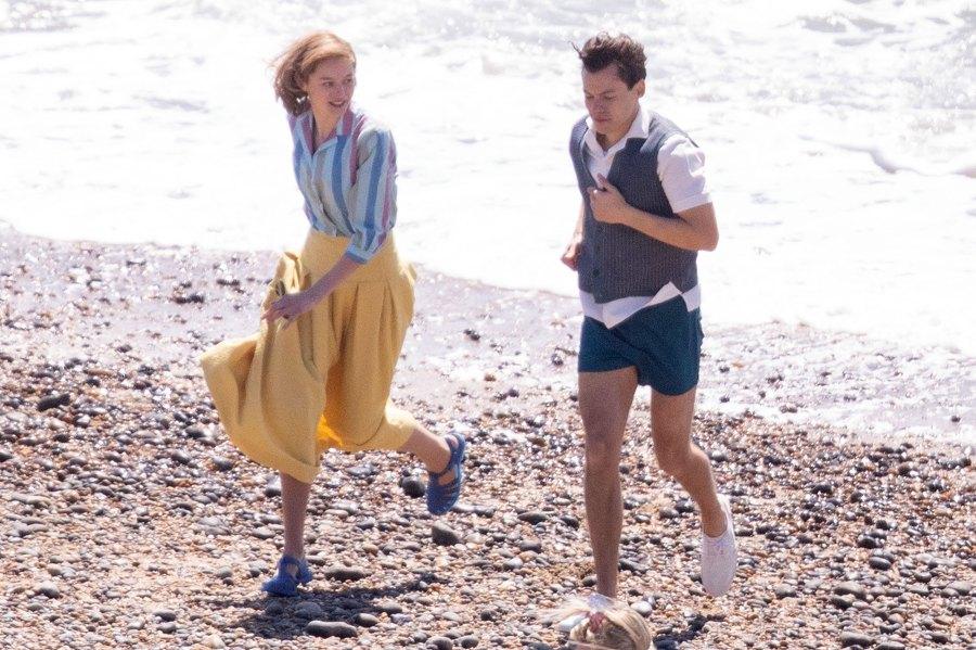 Harry Styles Emma Corrin and David Dawson Skip Down the Beach on My Policeman Set 5