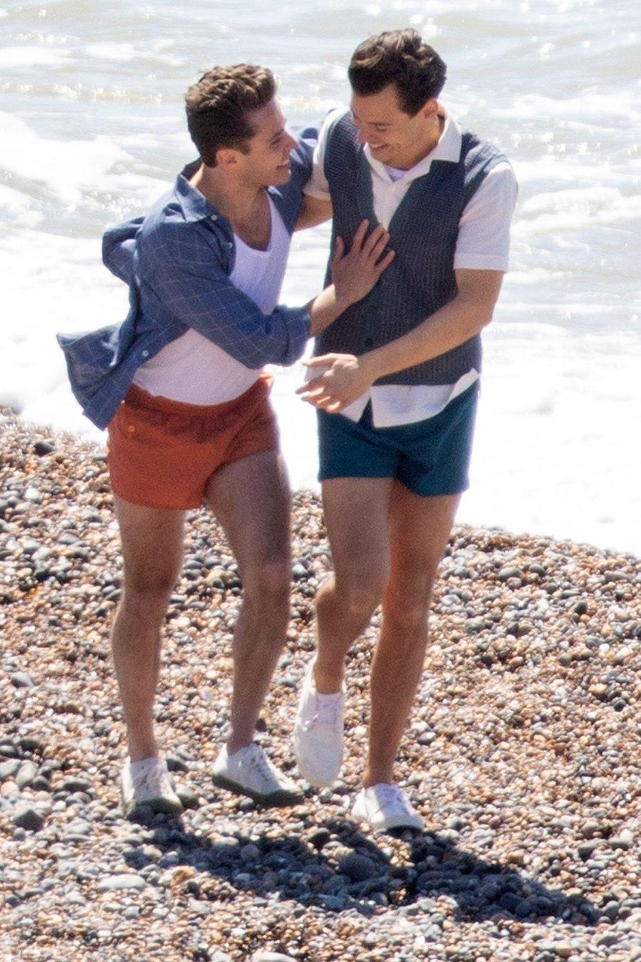 Harry Styles Emma Corrin and David Dawson Skip Down the Beach on My Policeman Set 7