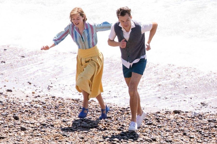 Harry Styles Emma Corrin and David Dawson Skip Down the Beach on My Policeman Set 8