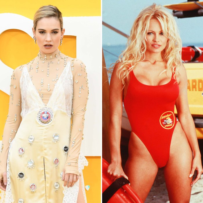 Lily James Channels Pamela Andersons Baywatch Days Iconic Red Suit
