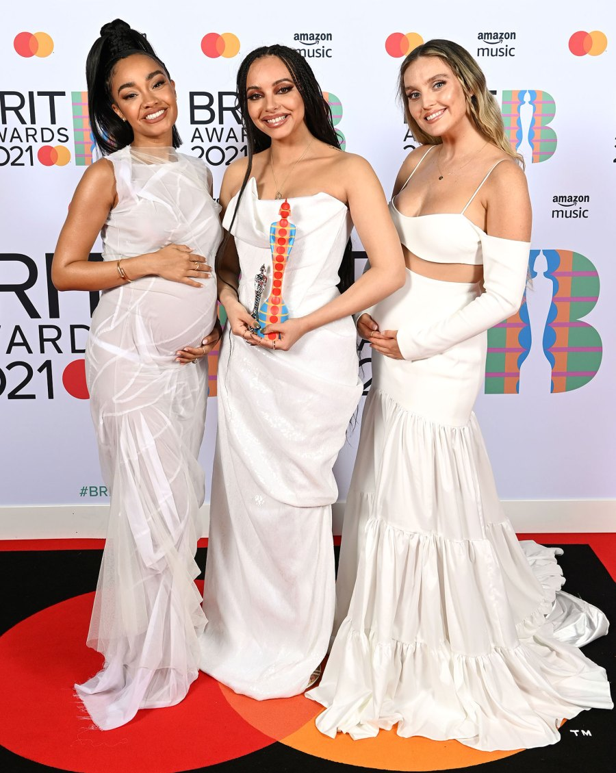 Little Mix Leigh-Anne Pinnock Jade Thirlwall Perrie Edwards 2021 Baby Bump Pregnant 41st BRIT Awards