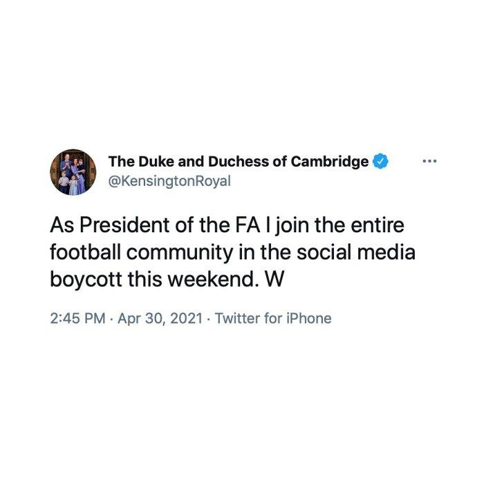 El príncipe William se está tomando una pausa de un fin de semana de las redes sociales por una causa digna