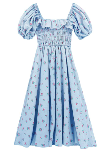 R.Vivimos Women's Summer Floral Print Puff Sleeves Vintage Ruffles Midi Dress