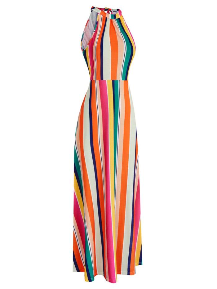 STYLEWORD Vestido largo maxi elegante con hombros descubiertos para mujer