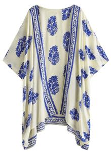 SweatyRocks Women's Kimono Vintage Floral Beach Cover Up