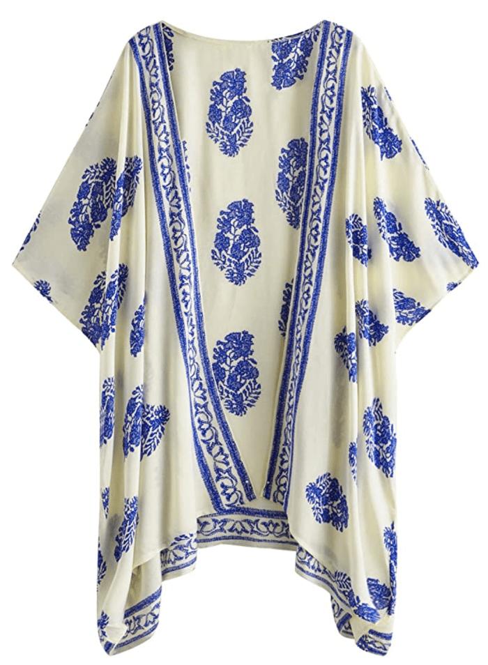 SweatyRocks Kimono Vintage Floral Beach Cover Up para mujer