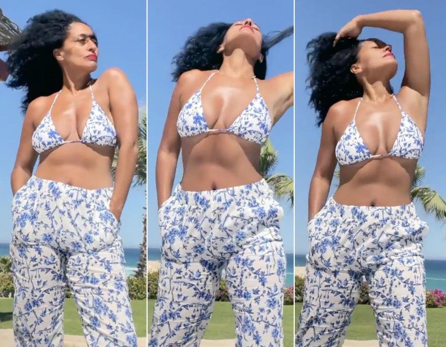 Tracee Ellis Ross Soaks Up the Sun in Preppy, Floral-Print Bikini