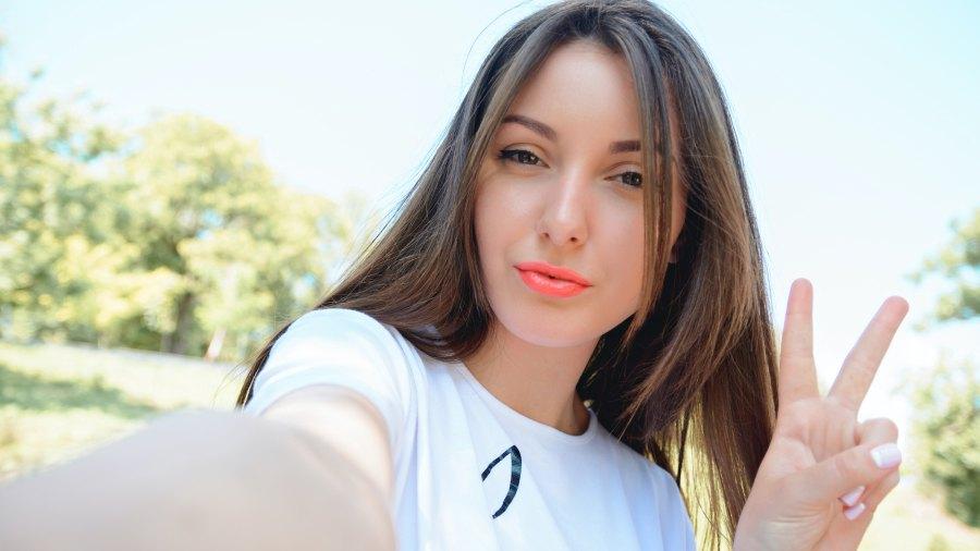 Woman-Taking-Selfie-Stock-Photo