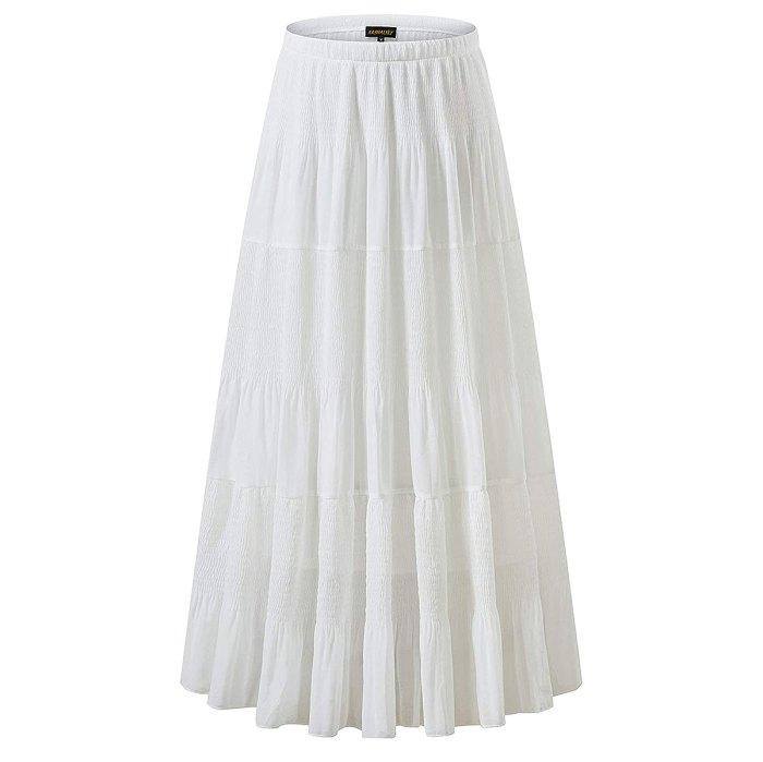 NASHALYLY Falda maxi acampanada plisada de cintura alta elástica de gasa