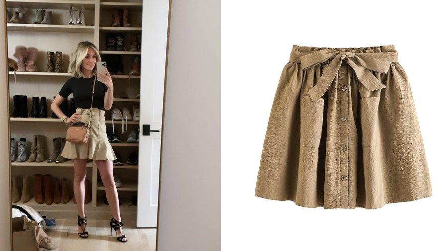 SheIn Casual Self Tie Waist Frill Double Pocket Short Skirt