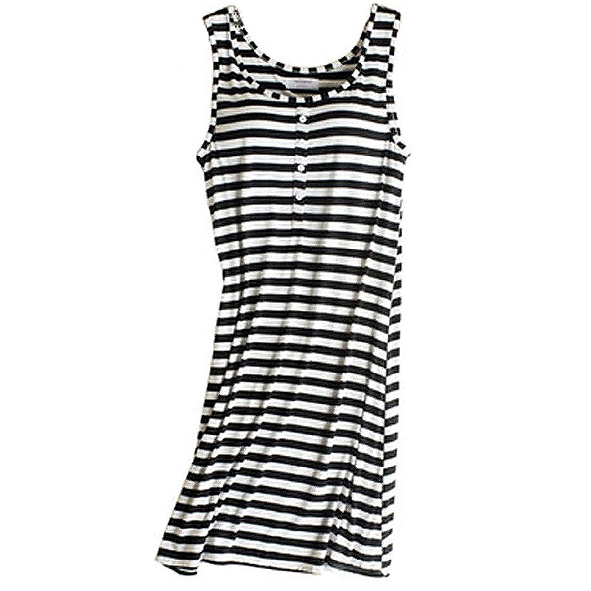 Rofala Sleeveless Button Built-in Bra Casual Sleepwear Dress