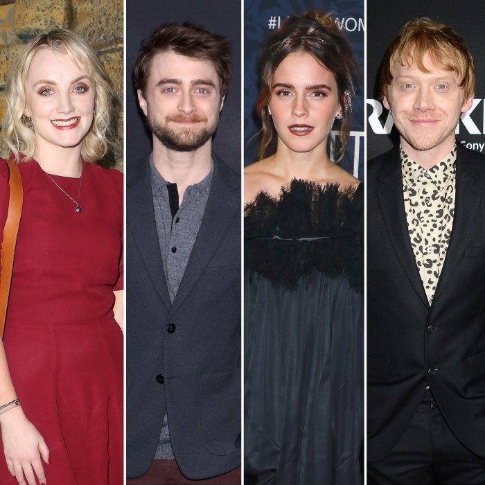 Harry Potter Evanna Lynch intimidado por Daniel Radcliffe Emma Watson y Rupert Grint