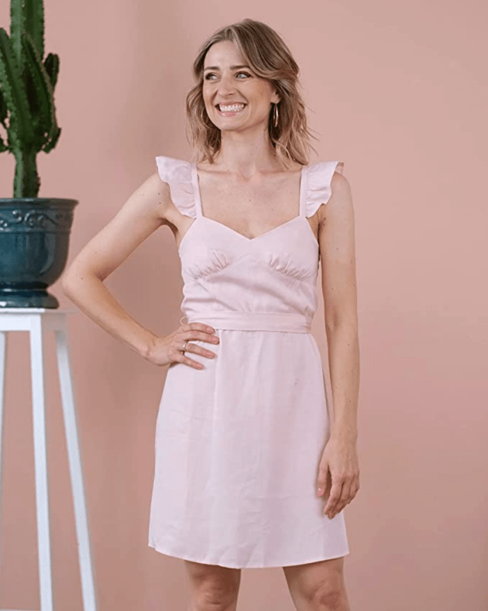 The Drop Women's Antique Rose Ruffle Shoulder Lined Mini Dress by @olesjaswelt