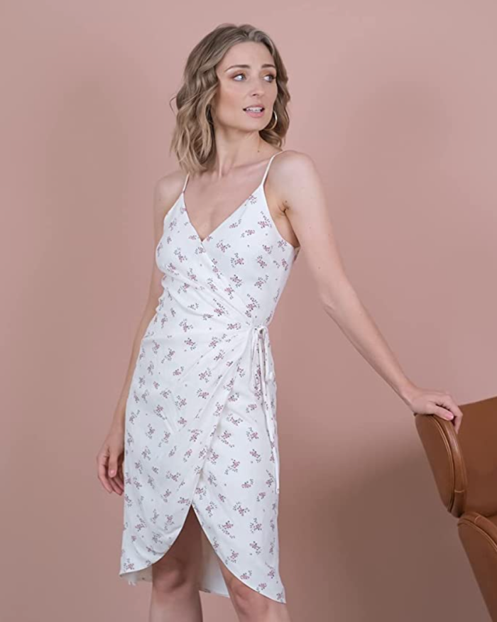 The Drop Women's Ivory Floral Print Lined Wrap Mini Dress by @olesjaswelt