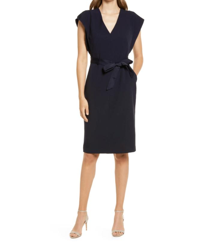 Eliza-J-Flutter-Sleeve-Belted-Crepe-Dress