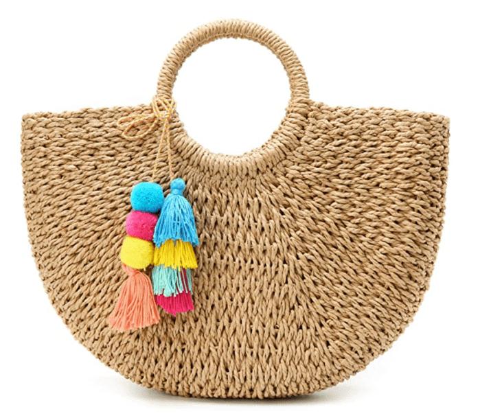 Epsion Womens Large Straw Beach Tote Bag
