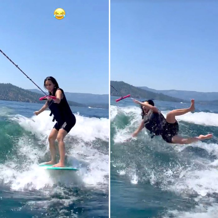 Kim Kardashian se estremece con el wakeboarding Fail