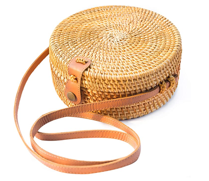 NATURAL NEO Handwoven Round Rattan Bag