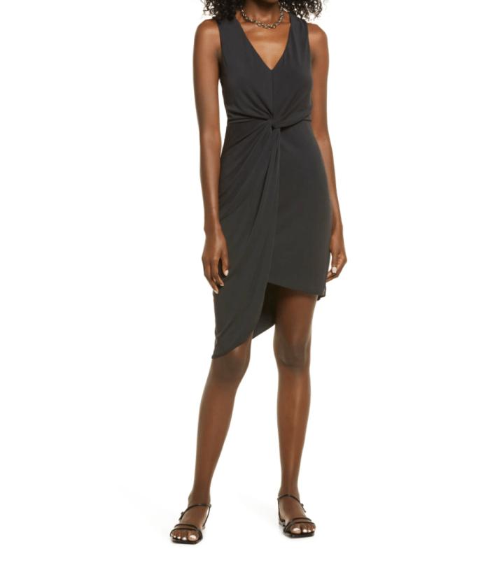 Open-Edit-Drape-Twist-V-Neck-Sheath-Dress