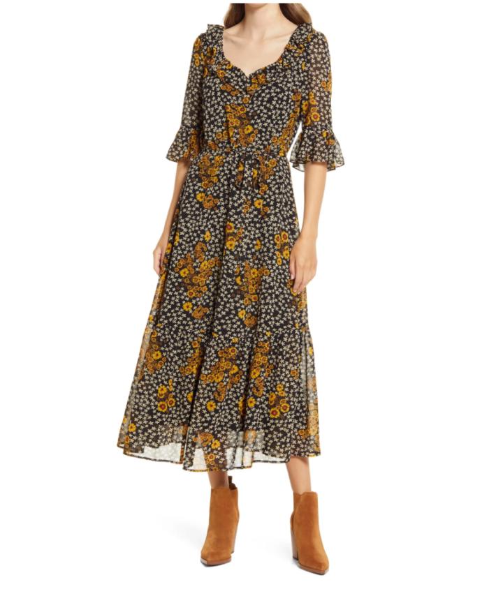 Sam Edelman Floral Ruffle Georgette A-Line Dress