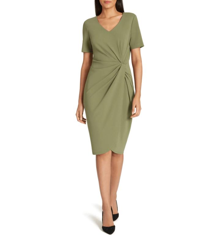 Tahari-Asymmetrical-Knot-Sheath-Dress