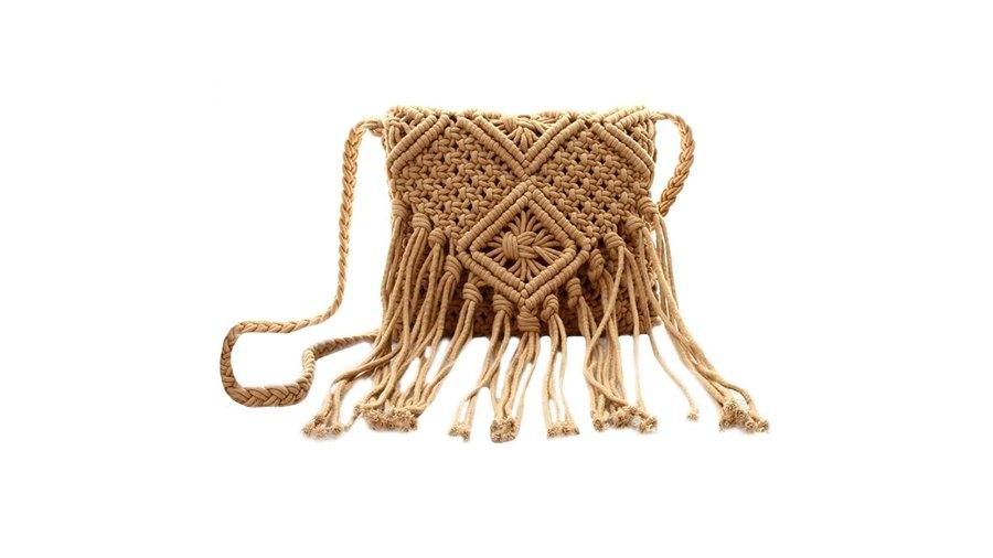 Van Caro Women's Cotton Crochet Tassel Bohemian Shoulder Purse