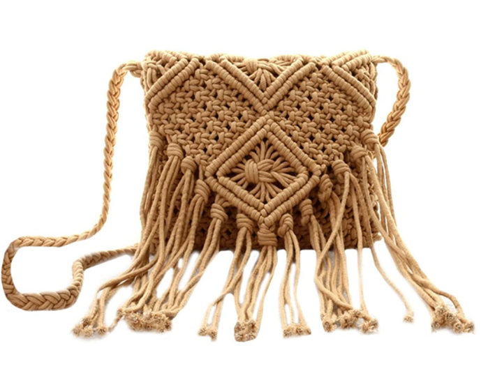 Van Caro Women's Cotton Crochet Tassel Shoulder Purse