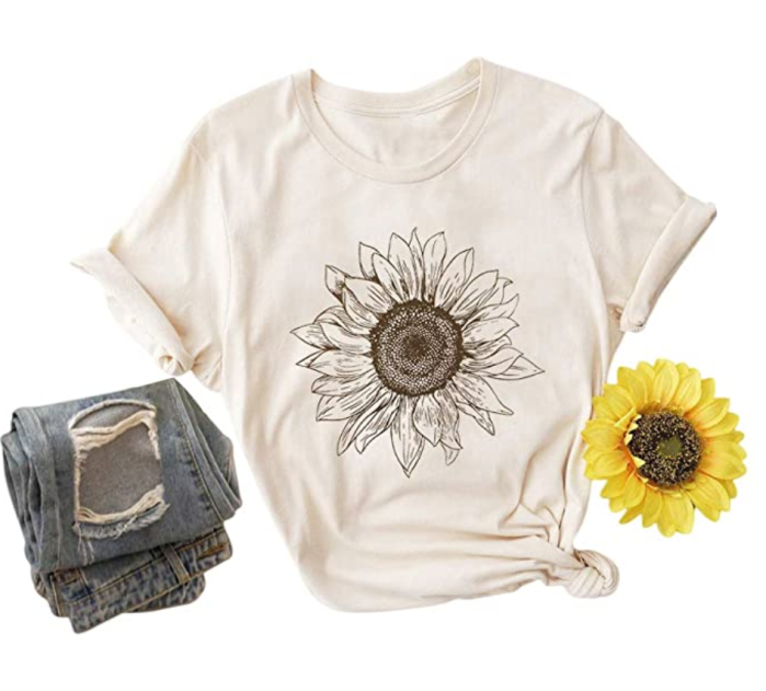 Binshre-Mujer-Cute-Sunflower-Shirt