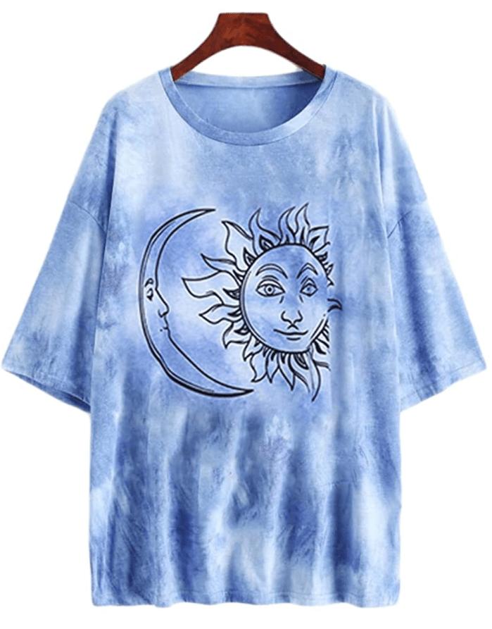 Fenxxxl-Camiseta-estampada-holgada-vintage para mujer