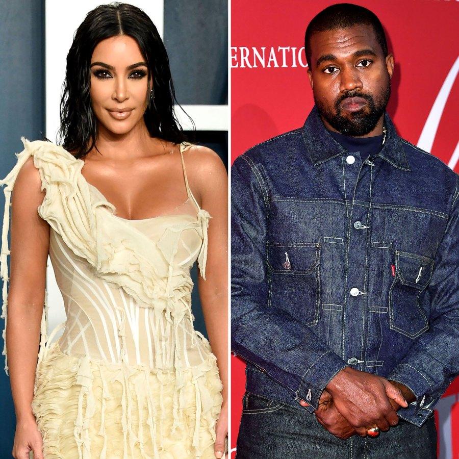 Kim Kardashian Thanks Kanye for Teaching Her the 'Best' Lesson Before Split tan dress denim jacket and pants