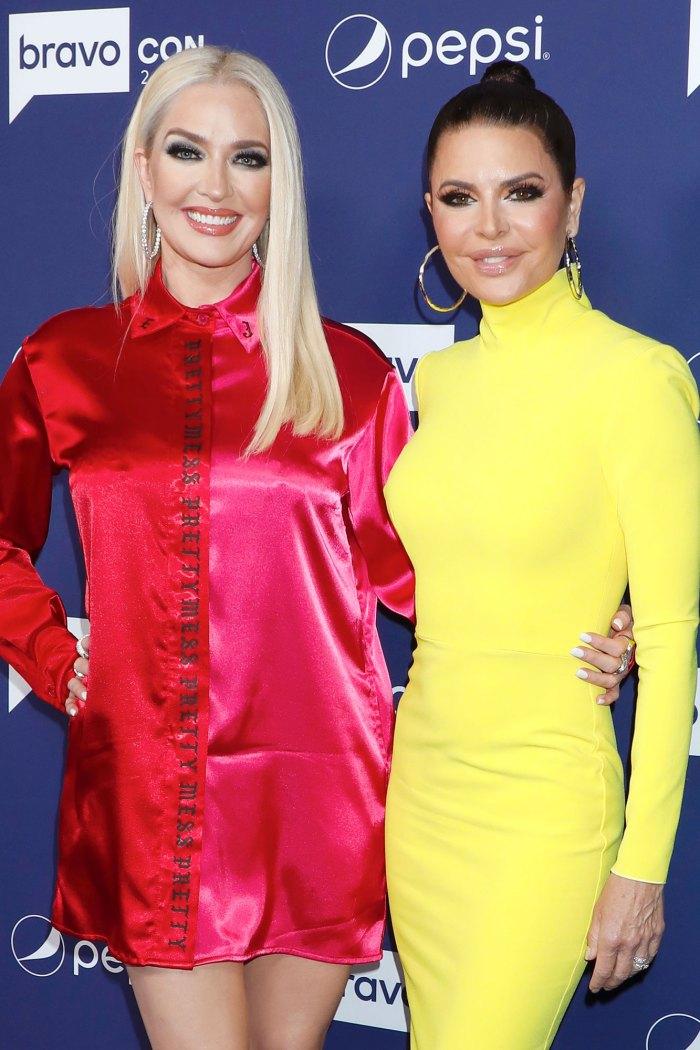 Lisa Rinna defiende a Erika Jayne en medio de problemas legales de Tom Girardi Vestido amarillo Vestido rojo BravoCon